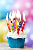 stock photo of cupcakes  - Birthday cupcake - JPG
