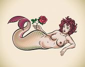Old-school styled tattoo of a red hair mermaid with a red rose. Raster image. Check my portfolio for an editable version.