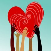 foto of multicultural  - multicultural hands with heart - JPG