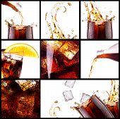 Fresh cola background with splash