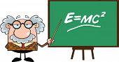 pic of einstein  - Funny Professor With Pointer Presenting Einstein Formula Cartoon Character - JPG