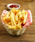 Traditional French fries with ketchup