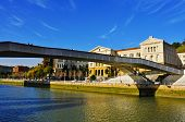 BILBAO, SPAIN - NOVEMBER 16: Pedro Arrupe Bridge over the estuary of Bilbao and the University of De
