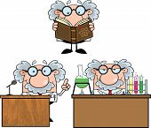 pic of physicist  - Funny Scientist Or Professor Cartoon Characters  Set Collection 6 - JPG