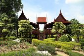 foto of canopy roof  - the Thai classic style wooden house with garden - JPG