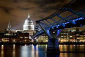 St Paul's And Millennium Bridge At Night