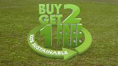 3D Graphic Of A Sustainable Buy Two Get One Free Icon  On Grass