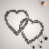 3D Graphic Of A Creative Two Hearts Symbol Made Of Many Spheres