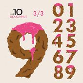 Numbers made of cake doughnuts and frosting