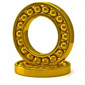 image of friction  - 3d illustration of golden ball bearing on white background - JPG