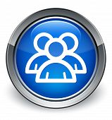 Group of People Icon Glossy Blue Button