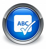 Spell Check Abc Icon Glossy Blue Button