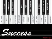 Vector eps concept or conceptual white success text piano keys word cloud or tagcloud isolated on black background