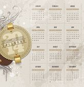 Vector design template - Calendar of 2014 with vintage labels and grunge elements