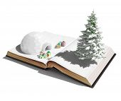 stock photo of igloo  - igloo with  christmas gifts on the open book - JPG