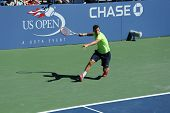 Professional tennis player Grigor Dimitrov from Bulgaria practices for US Open 2013