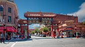VICTORIA, BRITISH COLUMBIA, CANADA - JULY 7: The Victoria's Chinatown gate,  known as The Gates of Harmonious Interest shot on July 7, 2013 in Victoria, British Columbia, Canada.