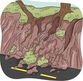 Illustration of Trees Left Clinging to Partially Eroded Soil After a Landslide