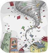 image of hurricane clips  - Illustration of a Huge Tornado Destroying the Houses and Buildings on its Path - JPG