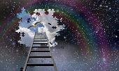 stock photo of reach the stars  - Ladder to the sky leads into day - JPG