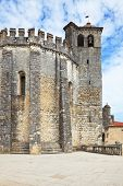 The imposing medieval castle - the monastery of the Templars. The central round tower and bell tower