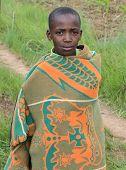 Native Basotho Boy From Butha-buthe Region Of Lesotho