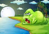 Illustration of a sleepy monster at the riverside