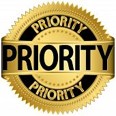 Priority gold label, vector illustration