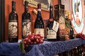 Italian Wine Bottles On Display At Bit 2014, International Tourism Exchange In Milan, Italy