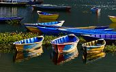 Colorful barques on Fewa Lake in Pokhara, Nepal