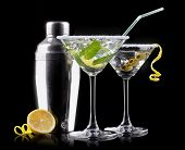 stock photo of vodka  - alcohol cocktail set on a black - JPG