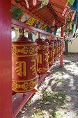 Prayer Wheels With Mantra, Sanskrit Text