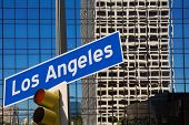LA Los Angeles downtown wit road sign photo mount in redlight