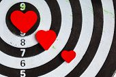 Closeup Black White Target With Hearts Bullseye As Love Background