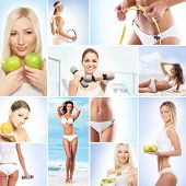 Healthy eating, sport, vegetarian food and beautiful body concept