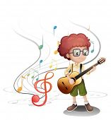 Illustration of a young musician playing a guitar on a white background