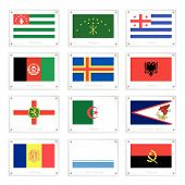 Twelve National Flags On Metal Texture Plate
