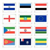 Collection Of National Flags On Metal Texture Plates