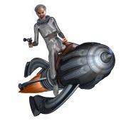 Silver Pin-up Girl Riding On A Retro Rocket