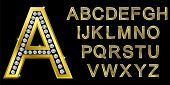 Golden alphabet with diamonds, letters from A to Z, vector illustration