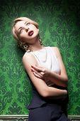 Sexy Blonde On Retro Green Wallpaper Background