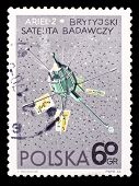 Poland Stamp, Great Britain Setellite Ariel-2