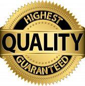 Highest quality guaranteed golden label, vector illustration