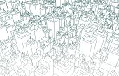Wireframe City with Buildings and Blueprint Design Art