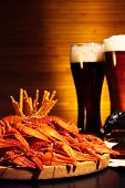 picture of crawdads  - Glasses of dark and light beer with crawfish - JPG