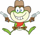 Cowboy Frog Character Holding Up Two Revolvers