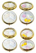 Set Of Compact Pill Boxes With Mirror