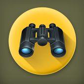 Binoculars, long shadow vector icon