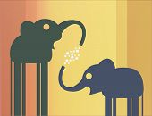 pic of mammoth  - Mother elephant and the elephant play with bubbles - JPG