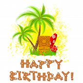 picture of tiki  - easy to edit vector illustration of tiki happy birthday - JPG